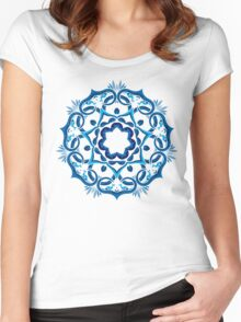 Psychedelic jungle kaleidoscope ornament 9 Women's Fitted Scoop T-Shirt