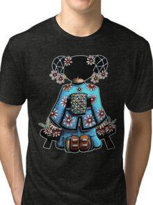 Asia Blue Doll (large design) Tri-blend T-Shirt