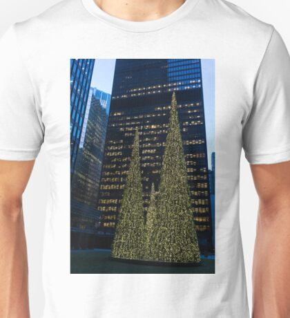 Downtown Christmas in Blue and Green Unisex T-Shirt