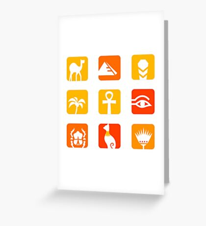 Collection of Egypt icons - pyramid, camel, scarab.. Greeting Card