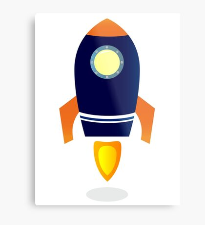 Blue Rocket ship. Vector cartoon Metal Print