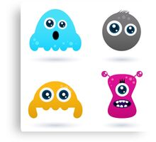 Cute monster or germs characters collection Canvas Print