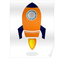 Vector - stylized Rocket Ship : Orange Poster