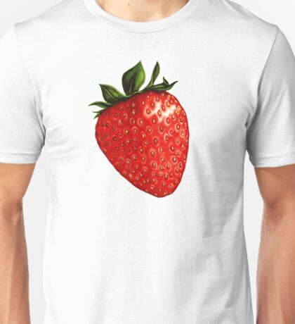 Strawberry Pattern - Black Unisex T-Shirt