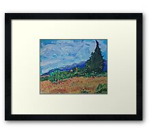 Wheat Field with Cypresses, Van Gogh art reproduction Framed Print