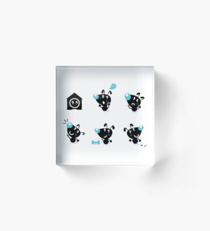Cute style vector icons. Little black Dogs Acrylic Block