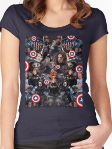 Bucky Barnes and Steve Rogers Collage Women's Fitted Scoop T-Shirt