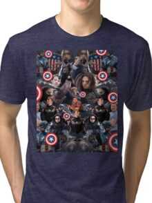 Bucky Barnes and Steve Rogers Collage Tri-blend T-Shirt