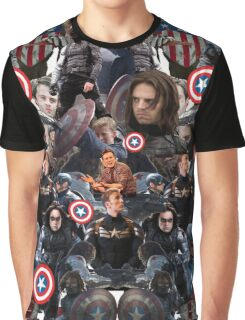 Bucky Barnes and Steve Rogers Collage Graphic T-Shirt