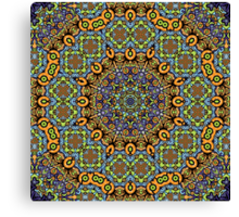 Psychedelic jungle kaleidoscope ornament 12 Canvas Print