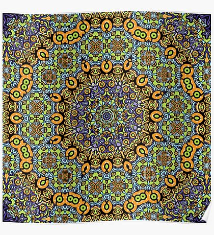 Psychedelic jungle kaleidoscope ornament 12 Poster