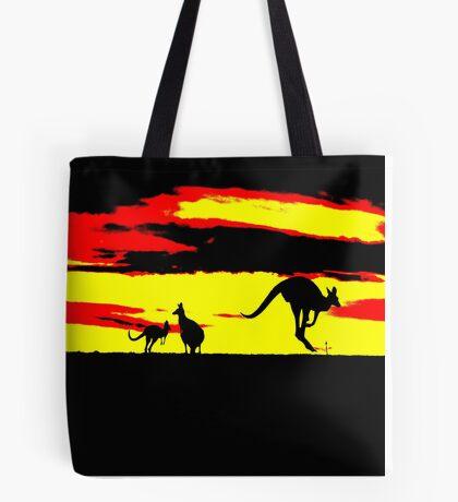 Kangaroos silhouettes at Sunset Tote Bag