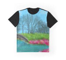 Lake and Bridge Digital painting Pink Flowers Graphic T-Shirt
