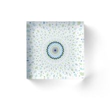 Blue Green White Mandala and Leaves Design Acrylic Block