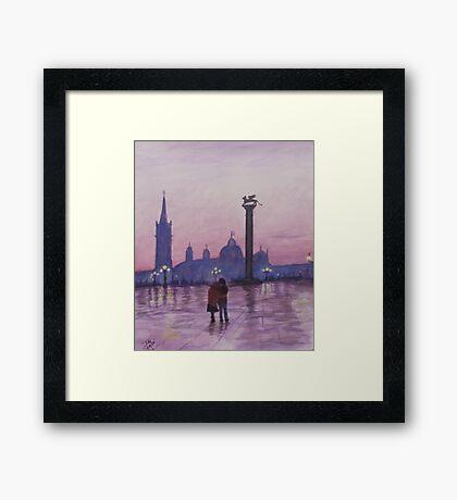 Walk in Italy in the rain Framed Print