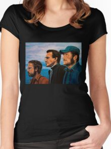 Richard Dreyfuss, Roy Scheider and Robert Shaw in Jaws Women's Fitted Scoop T-Shirt