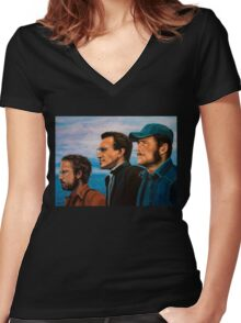 Richard Dreyfuss, Roy Scheider and Robert Shaw in Jaws Women's Fitted V-Neck T-Shirt