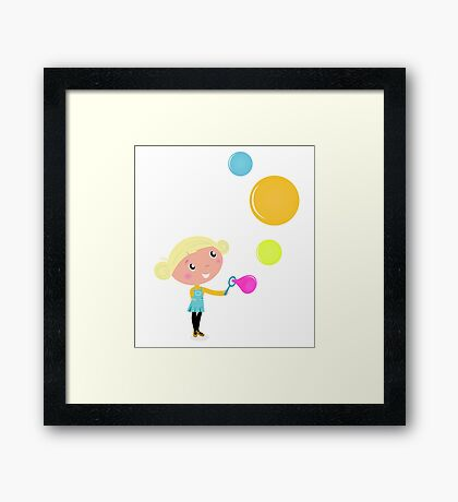 Cute cartoon Child with Colorful Soap Bubbles Framed Print