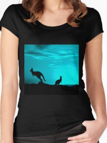 Kangaroos silhouettes at Sunset Women's Fitted Scoop T-Shirt