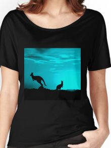 Kangaroos silhouettes at Sunset Women's Relaxed Fit T-Shirt