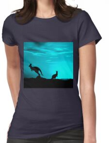 Kangaroos silhouettes at Sunset Womens Fitted T-Shirt