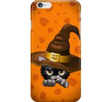 Black Kitty Cartoon With Witch Hat iPhone Case/Skin