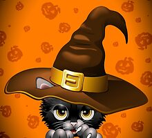 Black Kitty Cartoon With Witch Hat by BluedarkArt