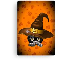 Black Kitty Cartoon With Witch Hat Canvas Print