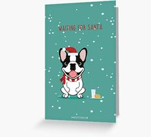 Frenchie Waiting for Santa - Brindle Pied Edition Greeting Card