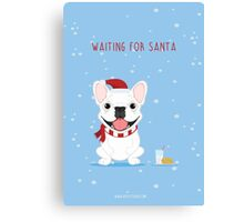 Frenchie Waiting for Santa - White Edition Canvas Print
