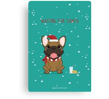 Frenchie Waiting for Santa - Fawn Edition Canvas Print