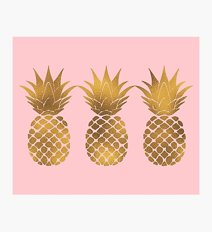 Pink and Gold Pineapple Photographic Print