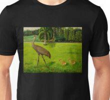 Sandhill crane with chicks Unisex T-Shirt