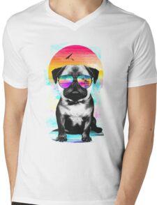 Summer Pug Mens V-Neck T-Shirt