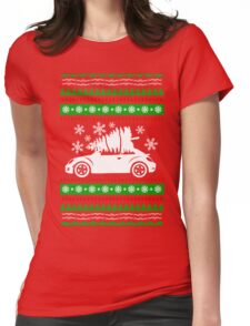 Car Bug and Pine Ugly Christmas Sweater Womens Fitted T-Shirt