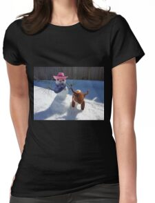 Roundin' Up Them Little Doggies Womens Fitted T-Shirt