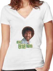 Bob Ross No Mistake Just Happy Little Trees Painter Design Women's Fitted V-Neck T-Shirt