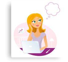 Beautiful blond secretary woman with think bubble Canvas Print
