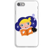 Cute Girl is reading Halloween Story Book iPhone Case/Skin