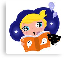 Cute Girl is reading Halloween Story Book Canvas Print