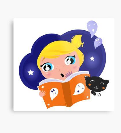Cute Girl is reading Halloween Story Book Metal Print