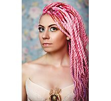 Freaky young female model wearing corset Photographic Print
