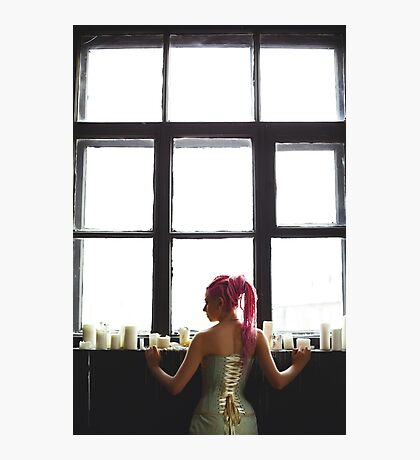 Young woman with dreadlocks wearing corset Photographic Print