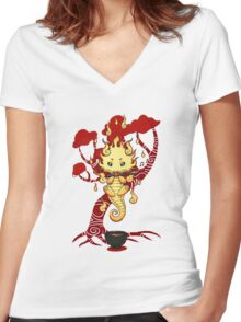 cute little dragon fire Women's Fitted V-Neck T-Shirt