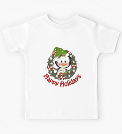 Adorable Christmas Penguin Wreath Kids Tee