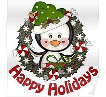 Adorable Christmas Penguin Wreath Poster