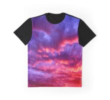 Crimson-Magenta Sky Graphic T-Shirt