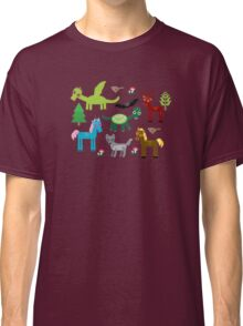 Seamless pattern with funny dragons, bats, unicorn, horse, deer, bird, wolf Classic T-Shirt
