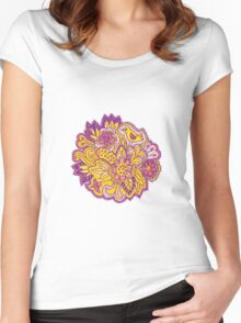 Purple and yellow flower pattern Women's Fitted Scoop T-Shirt