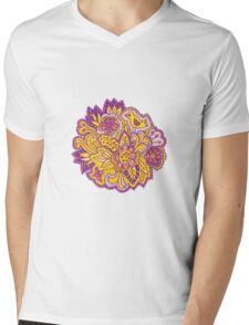 Purple and yellow flower pattern Mens V-Neck T-Shirt